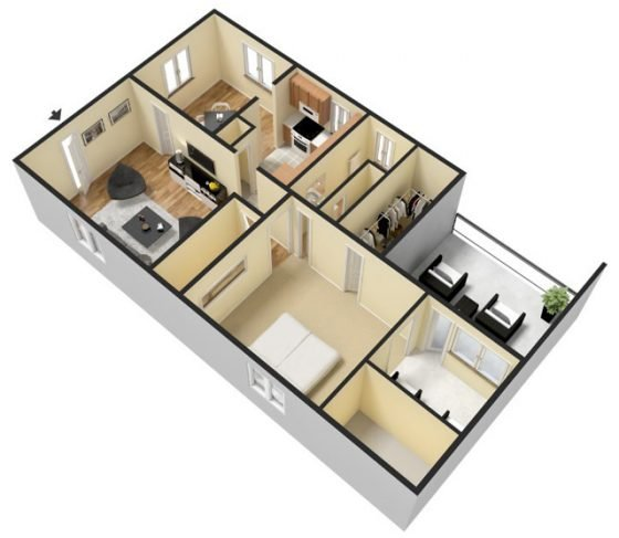 3D 1 Bedroom 1 Bathroom. 1277 sq. ft.