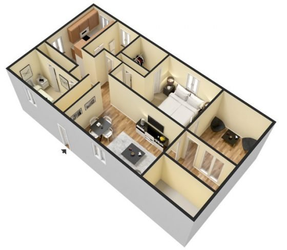 3D 2 Bedroom 1 Bathroom. 1277 sq. ft.