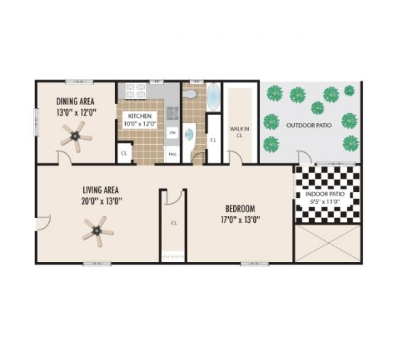 1 Bedroom 1 Bathroom. 1277 sq. ft.